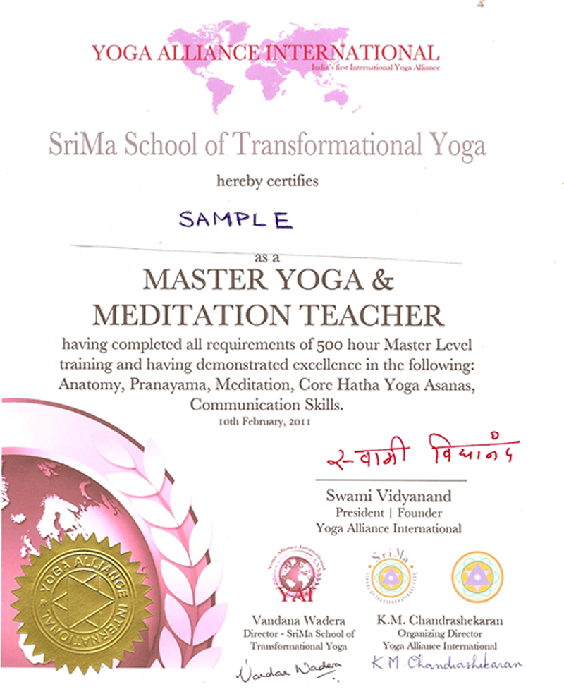 Yoga Teacher Certificate